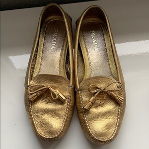 Prada flat gold shoes
